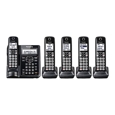 Panasonic® DECT 6.0 Cordless Telephone With Answering Machine And Dual Keypad, 5 Handsets, KX-TGF545B