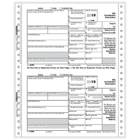 """ComplyRight™ 5498 Tax Forms, Continuous, Copies A, B And C, 3-Part, 9"""" x 11"""", Pack Of 100 Forms"""