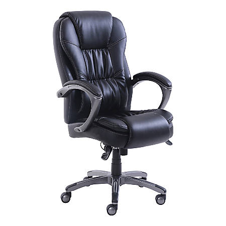 Lorell® Active Massage Leather Chair, Black