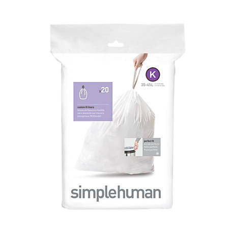 simplehuman® Custom Fit Can Liners, K, 35-45L/9-12G, White, Pack Of 240