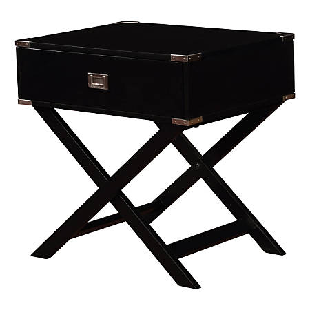 Linon Ari X-Base Accent Table, Square, Black