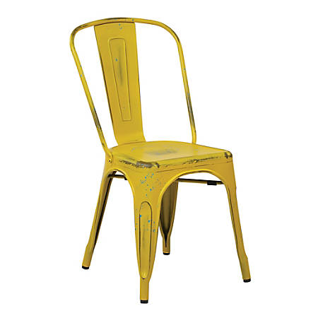 Office Star™ Bristow Armless Chair, Antique Yellow With Blue Specks, Set Of 2 Chairs