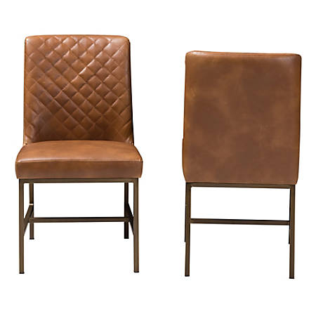 Baxton Studio Mael Faux Leather Chairs, Light Brown/Bronze, Set Of 2 Chairs