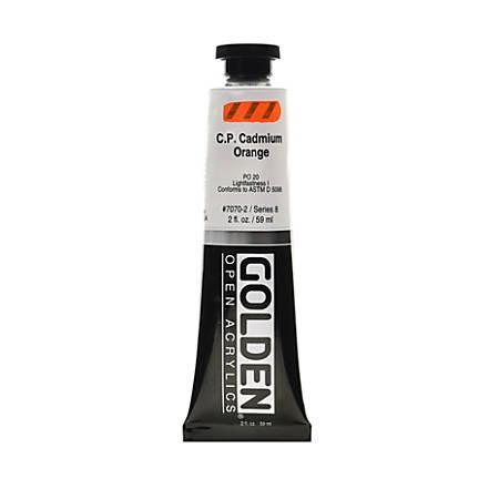 Golden OPEN Acrylic Paint, 2 Oz Tube, Cadmium Orange (CP)