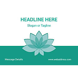 Adhesive Sign Teal Spa Flower Horizontal