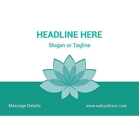 Adhesive Sign, Teal Spa Flower, Horizontal