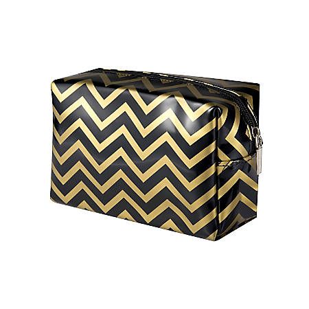 Zodaca Travel Cosmetic Makeup Bag Organizer, Black/Gold