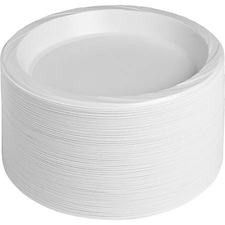 "Genuine Joe 10-1/4"" Large Plastic Plates - 125 / Pack - 10.25"" Diameter Plate - Plastic - Disposable - Warm White - 500 Piece(s) / Carton"