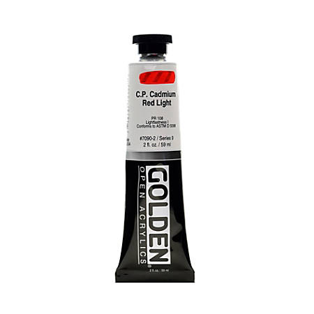 Golden OPEN Acrylic Paint, 2 Oz Tube, Cadmium Red Light (CP)