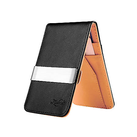 Zodaca Genuine Leather Wallet With Money Clip, Black/Orange/Silver