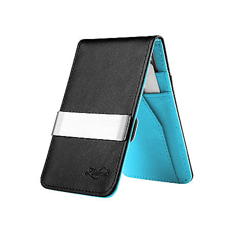 Zodaca Genuine Leather Wallet With Money Clip, Black/Blue/Silver