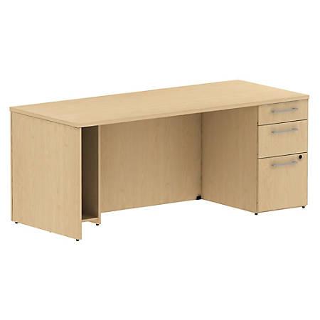 "Bush Business Furniture 300 Series Breakfront Desk With 3 Drawer Pedestal, 72""W, Natural Maple, Premium Installation"