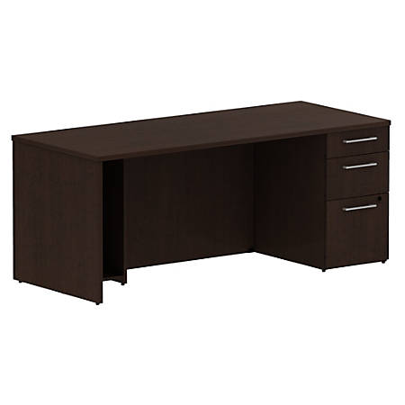 "Bush Business Furniture 300 Series Breakfront Desk With 3 Drawer Pedestal, 72""W, Mocha Cherry, Premium Installation"
