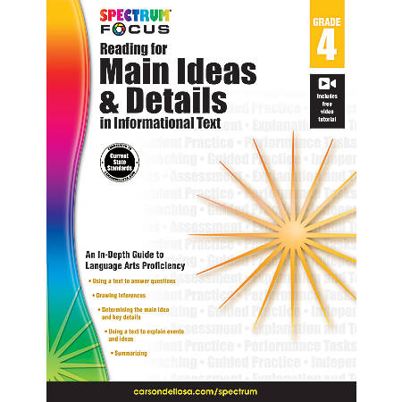 Spectrum® Reading For Main Ideas And Details In Informational Text Workbook, Grade 4
