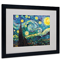 Trademark Global Starry Night Matted And Framed Canvas Print By Vincent Van Gogh 16