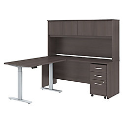 "Bush Business Furniture Studio C 72""W x 24""D L Shaped Desk with Hutch, 48""W Height Adjustable Return and Storage, Storm Gray, Premium Installation"