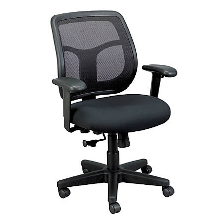 Mammoth Office Products Mesh/Fabric Multifunction Mid-Back Chair, Black