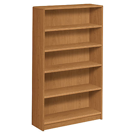 HON® Radius-Edge Bookcase, 5 Shelves, Harvest