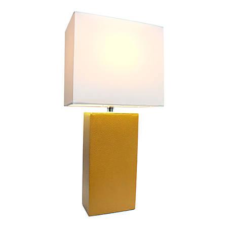 "Elegant Designs Monaco Avenue Leather Table Lamp, 21""H, White Shade/Tan Base"