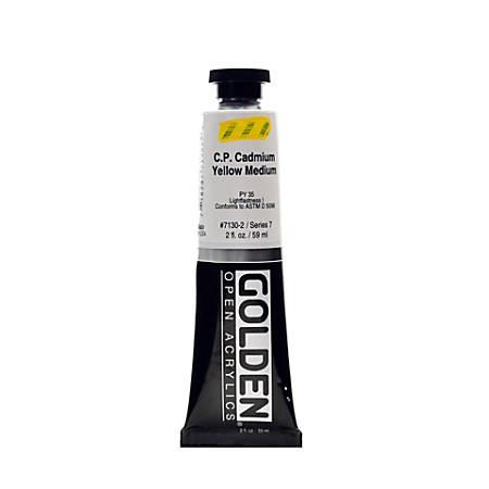 Golden OPEN Acrylic Paint, 2 Oz Tube, Cadmium Yellow Medium (CP)