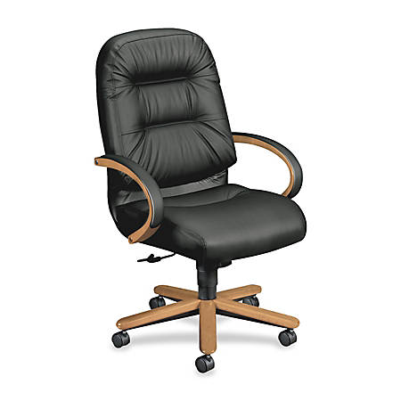 "HON® Pillow Soft 2191 Executive High-Back Swivel Chair, 46 1/2""H x 26 1/4""W x 29 3/4""D, Harvest Frame, Black Leather"