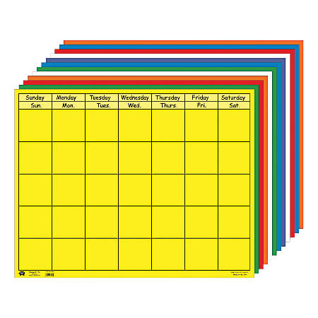 "Creative Shapes Horizontal Calendars, 28"" x 22"", Multicolor, Pre-K - Grade 8, Pack Of 12"