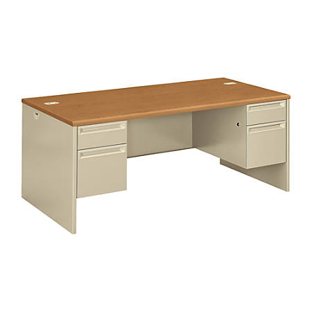 HON®38000 Series Double Pedestal Desk, Harvest/Putty