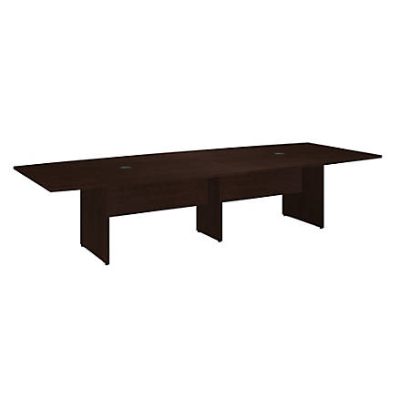"Bush Business Furniture 120""W x 48""D Boat Shaped Conference Table with Wood Base, Mocha Cherry, Premium Installation"