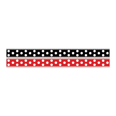"Barker Creek Double-Sided Straight-Edge Border Strips, 3"" x 35"", Dots, Pack Of 12"
