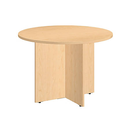 "Bush Business Furniture Round Conference Table 42""W, Natural Maple with Wood Base, Premium Installation"