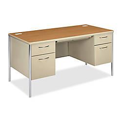 HON Mentor Double Pedestal Desk Harvest