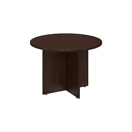 """Bush Business Furniture Round Conference Table with Wood Base, 42""""W, Mocha Cherry, Standard Delivery"""