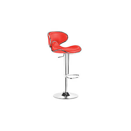 "Zuo Fly Barstool, 41""H x 18""W x 18""D, Chrome/Red"