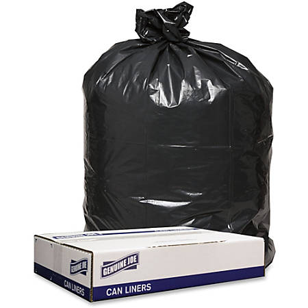 "Genuine Joe 1.2mil Black Trash Can Liners - 43"" Width x 47"" Length x 1.20 mil (30 Micron) Thickness - Low Density - Black - 100/Carton - Can"