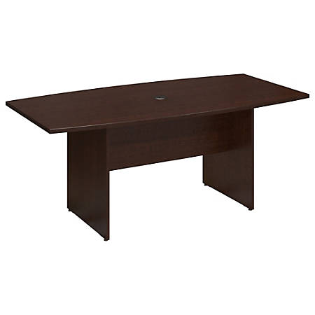 "Bush Business Furniture 72""W x 36""D Boat Shaped Conference Table with Wood Base, Mocha Cherry, Premium Installation"