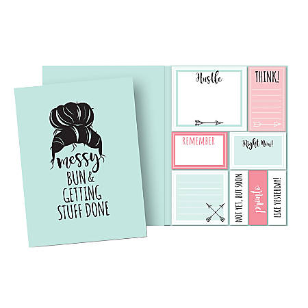 """so-mine Sticky Note Folio, 6 1/4"""" x 4"""", Messy Bun, Assorted Colors, Pad Of 50 Sheets"""