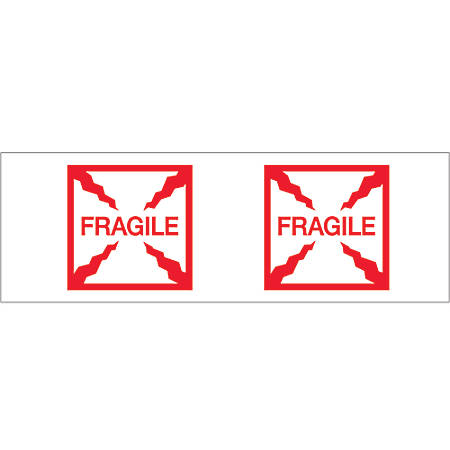 "Tape Logic® Fragile (Box) Preprinted Carton Sealing Tape, 3"" Core, 2"" x 55 Yd., Red/White, Pack Of 18"