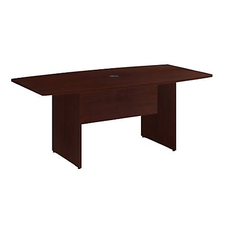 """Bush Business Furniture 72""""W x 36""""D Boat Shaped Conference Table with Wood Base, Harvest Cherry, Premium Installation"""