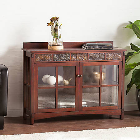 Southern Enterprises Camino Mission Faux Slate Sideboard And Display Curio, Rectangular, Espresso