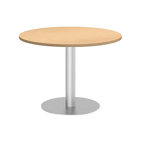 "Bush Business Furniture 42""W Round Conference Table with Metal Disc Base, Natural Maple, Premium Installation"