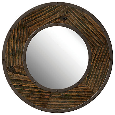 "PTM Images Framed Mirror, Industrial Round, 24""H x 24""W, Natural Black"