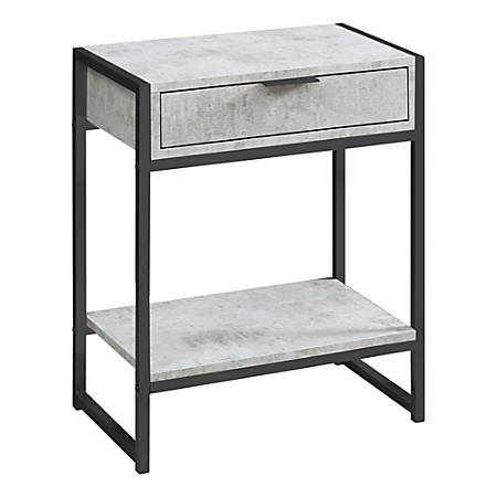 Monarch Specialties Side Accent Table With Shelf, Rectangular, Gray Cement/Black Nickel