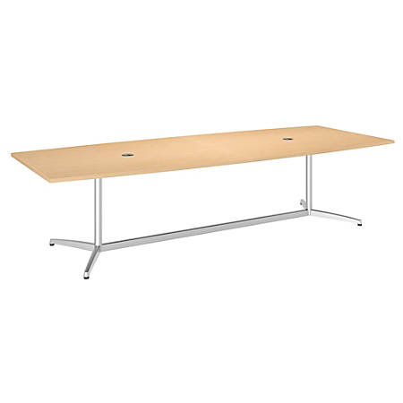 """Bush Business Furniture 120""""W x 48""""D Boat Shaped Conference Table with Metal Base, Natural Maple/Silver, Standard Delivery"""