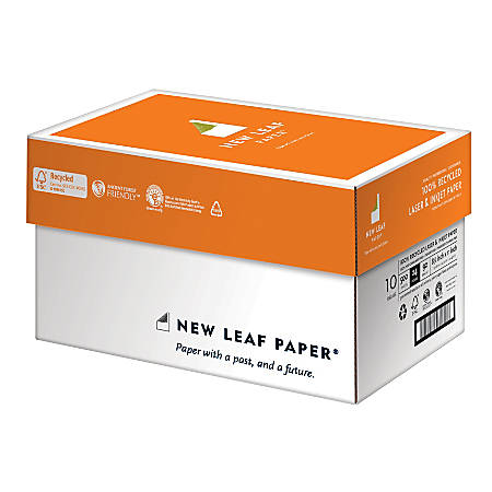 "New Leaf® Premium Laser And Inkjet Paper, Letter Size (8 1/2"" x 11""), 24 Lb, 100% Recycled, 500 Sheets Per Ream, Case Of 5 Reams"