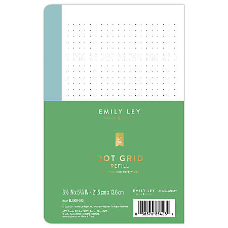 """AT-A-GLANCE® Emily Ley Simplified System Notes Refill, Dotted, 5 3/8"""" x 8 1/2"""", Undated"""