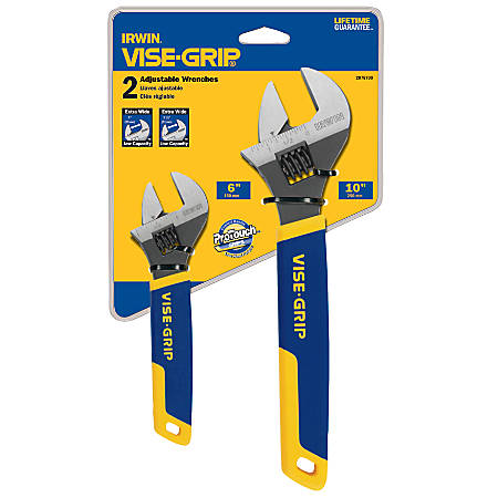 """IRWIN Two-Piece Adjustable Wrench Set, 6"""" and 10"""" Tool Length"""