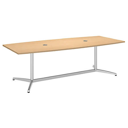 "Bush Business Furniture 96""W x 42""D Boat Shaped Conference Table with Metal Base, Natural Maple/Silver, Premium Installation"