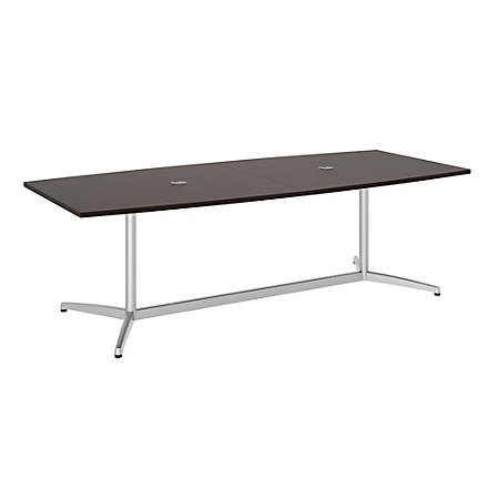 """Bush Business Furniture 96""""W x 42""""D Boat Shaped Conference Table with Metal Base, Mocha Cherry/Silver, Premium Installation"""