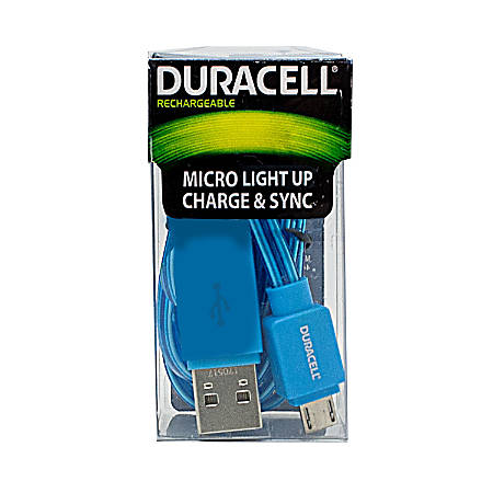 Duracell® Light Up Micro USB Cable, 3', Blue, LE2245