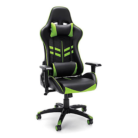 Essentials By OFM Racing-Style Mid-Back Bonded Leather Gaming Chair, Green/Black